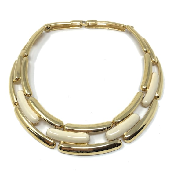 Givenchy 1980s Gold Plated, Cream Enamel Vintage C