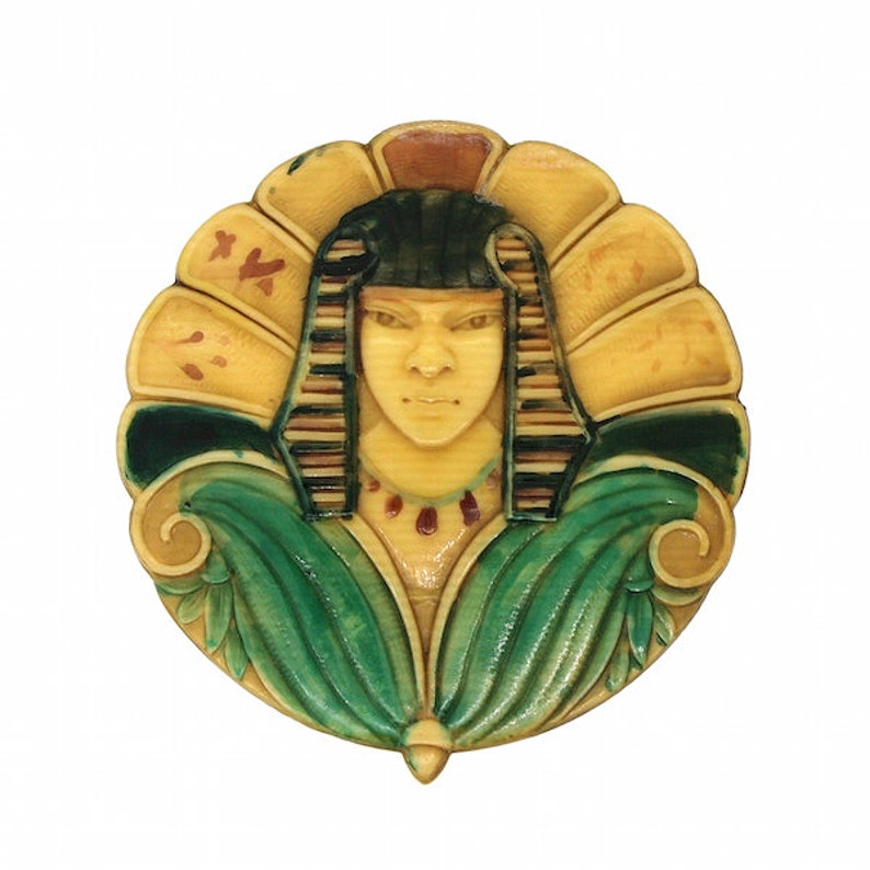 1920s Egyptian Revival Pharaoh Design Vintage Celluloid Buckle