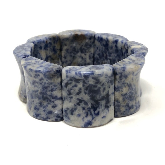 1960s Blue Marbled Stone Vintage Cuff Bracelet