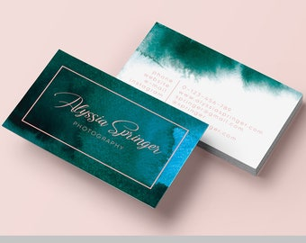 Business Card Design, Business Cards, Business Cards Custom, Watercolor Business Cards, Emerald Business Card Template, Emerald and pink