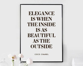 Coco Chanel quote ~ Elegance is ~ Download Printable Poster PDF and JPG