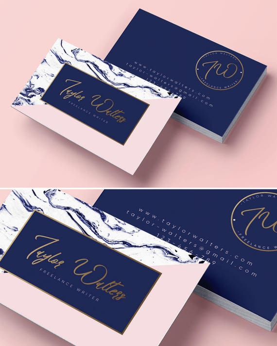Logo Design Business Card Branding Package Marble Business Etsy
