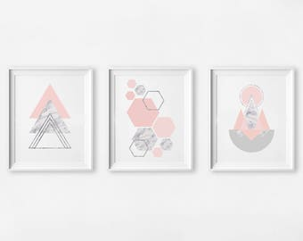 "Set of 3 prints, 16x20"", Blush Marble Abstract Art, Scandinavian Geometric Print, Scandinavian Nursery Wall Art, Girl Kids Room Print"