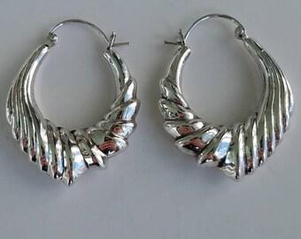 73a059556 1990's silver hoop earrings / latch back hoops / unique hoop earrings /  sterling silver hoops