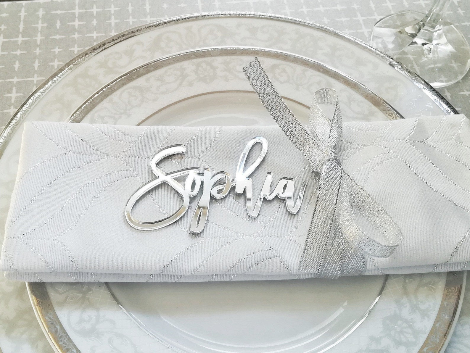 Tischkarten silber