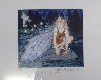 Fairy, faery, original print, hand printed etching