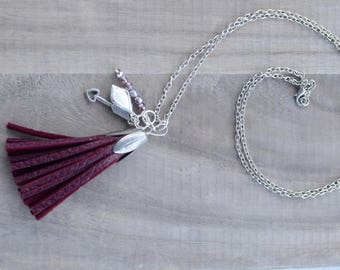Tassel Necklace in cranberry and silver with charms
