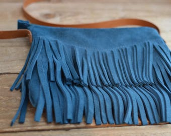 Madelyn Fringe purse! Dark teal suede leather Fringe Purse with cross body leather strap