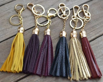 Leather Tassel Keychain or purse accessory clip with Tulip Cap
