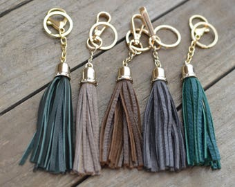 Leather Tassel Keychain or purse accessory clip with gold bell cap