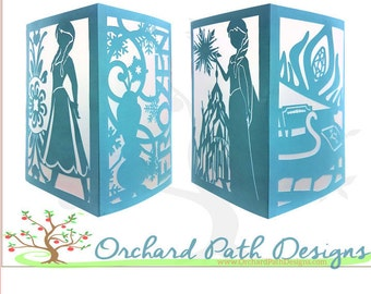 Frozen Anna and Elsa Paper Lantern for Disney themed wedding, birthday, shower, party centerpieces, decorations, with Olaf, ice palace