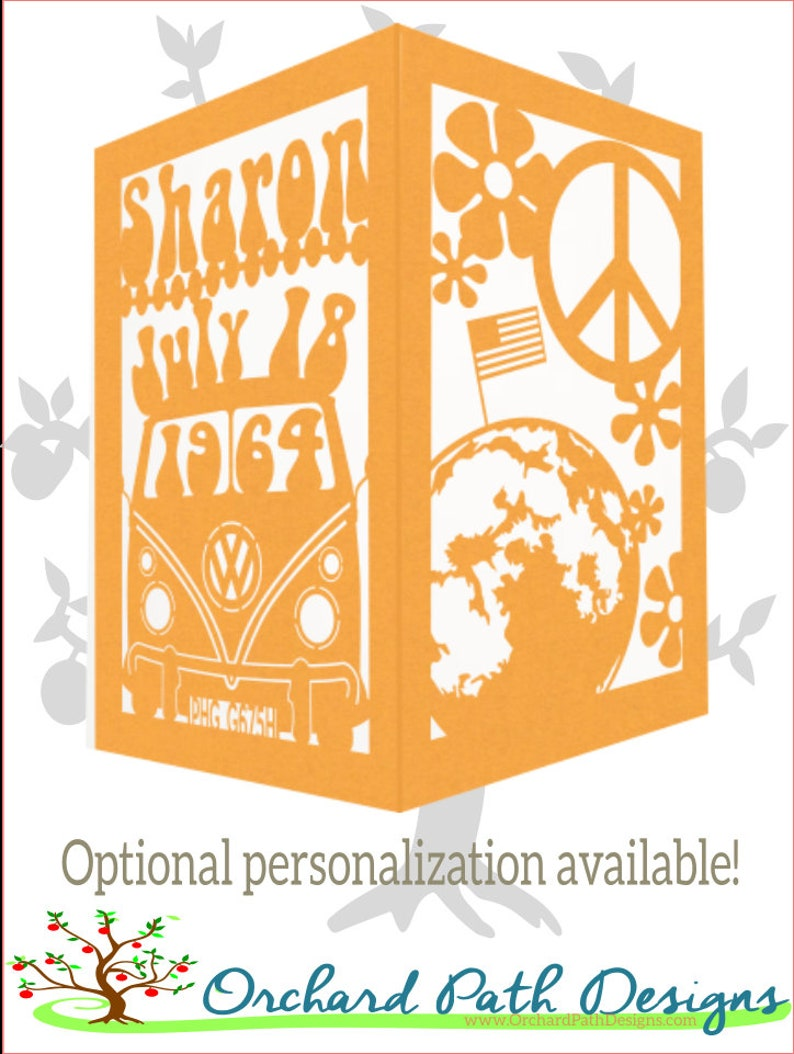 1960/'s Decade Themed Paper Lantern with optional Personalization