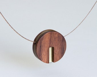 Circle Modern Wood and Brass Necklace