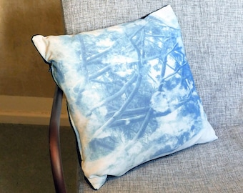 Handprinted blue pillow (cyanotype), Single Item with Velvet