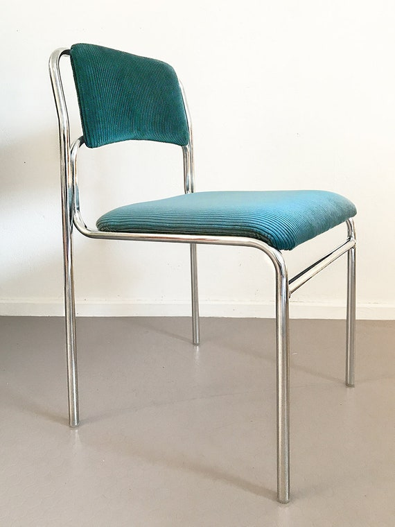 Petrol corduroy dining chair with chrome metal frame