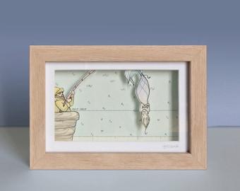 Fischers Fang - Maritime 3D Box - Shadow Box - Original Drawing - 16.5 x 11.5 cm