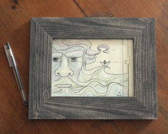 "Illustrated nautical chart (original) ""Sea bear"" - framed 26 x 21 cm"