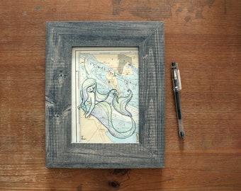 """Illustrated nautical chart (original) """"Nixe Vordingborg"""" - framed 21 x 26 cm"""