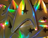 Holographic Star Trek symbol sticker,  waterproof, water bottle sticker