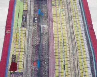 Reversible Vintage RALLI kantha quilt: boho Vintage throw, Kantha bedding, Kantha Duhrey