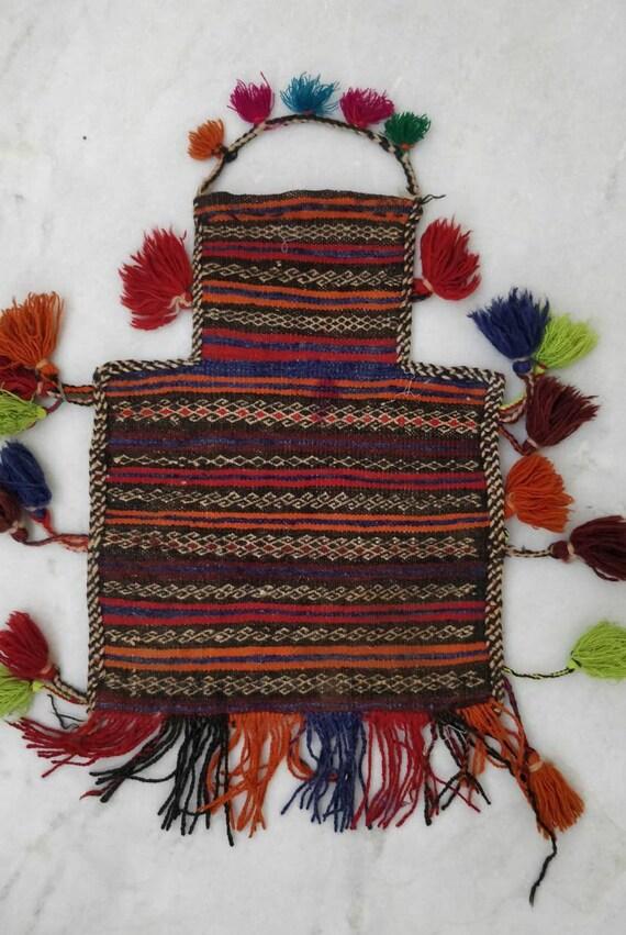 Vintage Afgani salt bag, Turkish kilim bag, Boho w