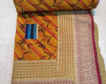 Vintage Ralli quilt, Kantha Quilt, Boho Bedding, Indian Durrey, Twin size reversible Kantha Quilt, reversible Kantha Bedding