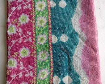 Vintage Reversible kantha Quilt, boho kantha bedding, Kantha throw, vintage boho sari quilt
