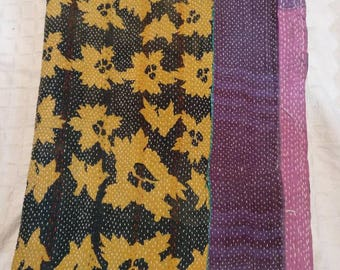 Best Quality Twin size reversible Kantha Quilts, Vintage Kantha Throw, Bohemian bedding, Kantha beach spread