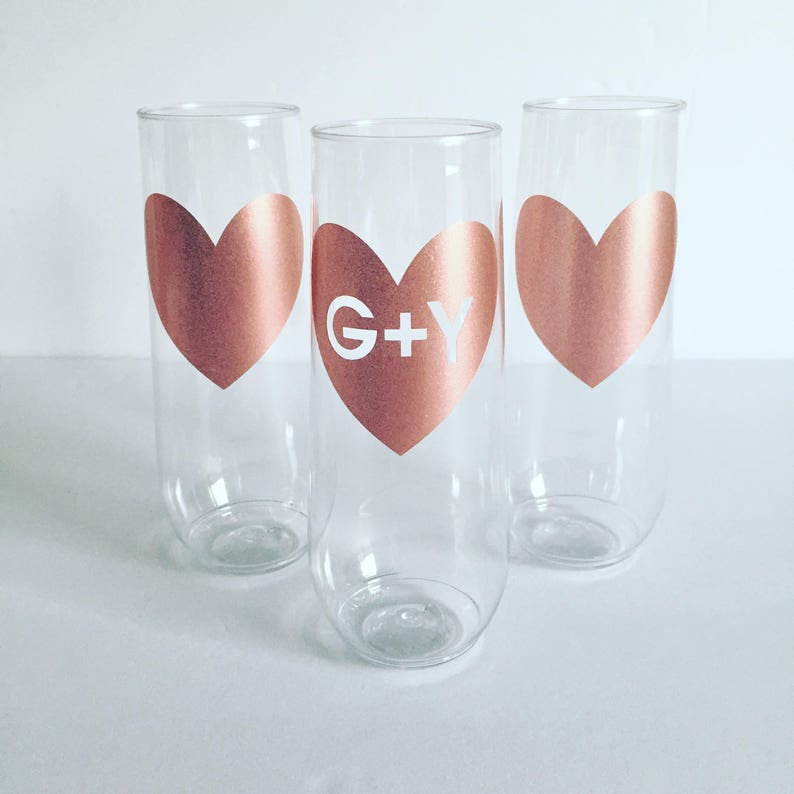 a0cf95a50ab ROSE GOLD Heart Stemless PLASTIC Champagne Flute - Bridal - Bachelorette -  Bridesmaid Box - Wedding Flutes - Champagne Flutes - Flute