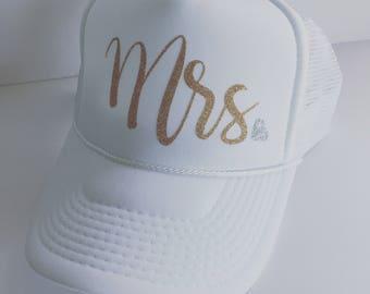 Mrs. - Glitter Bride -Snapback - Trucker Hat - Bachelorette Party Hat - Honeymoon Hat - Bride Hat - White Hat - Beach Hat