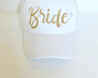 Bride Glitter Diamond - Snapback - Trucker Hat - Bachelorette Party Hat - Honeymoon Hat - Bride Hat - White Hat - Beach Hat