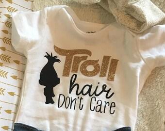 Troll Hair Don't Care (Trolls/Princess Poppy - White Onesie/Tshirt)