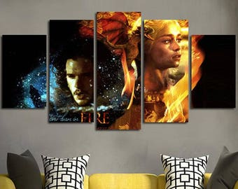 5 Panels Game of Thrones Jon Snow Daenerys Targaryen A Song of Ice and Fire Canvas Art Multi Grouped Art Work asoiaf GOT