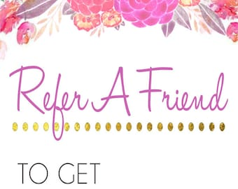 Refer a friend business card back red gold and black etsy refer a friend business card back watercolor floral colourmoves