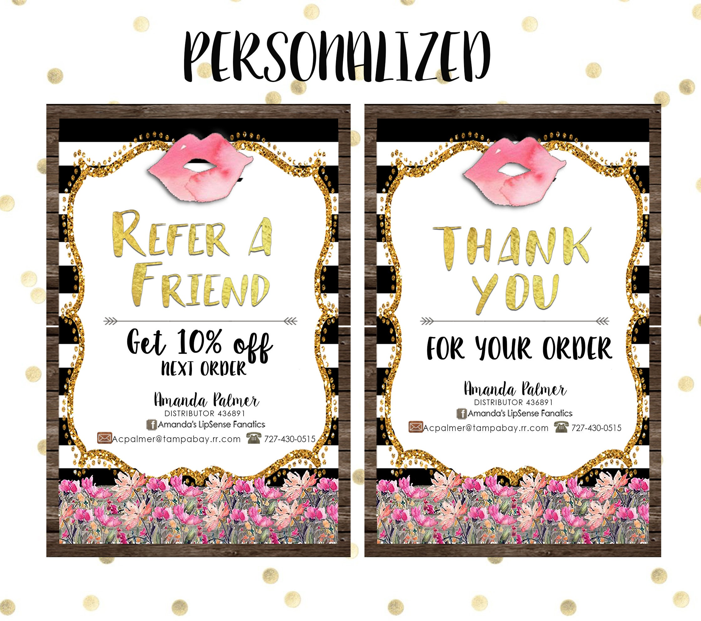 Refer A Friendthank You Card Lipsense Pack Wooden Floral Etsy