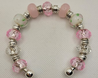 Soft Pink Beaded Bracelet - Hand Painted Rose Glass Artisan Beads with Silvertone Spacers - Sterling Silver Plated Bangle