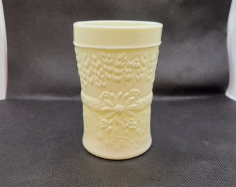 AKA Diamond /& Peg Star Pattern EAPG Antique Jefferson Custard Glass Spooner Vase with Hand Painted Roses and Mother 1917