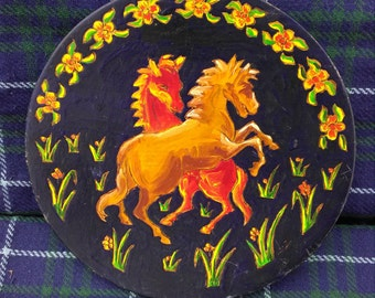 Gypsy Art, Horse Painted Wooden Plate, Rustic, Hand Painted, Wooden Gypsy Style, Wall Plate, Rearing Horses, Dated 1989