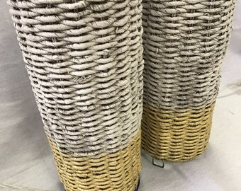 Pair Woven Lamps