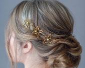 Star 3 hair pins set Silver star hairpiece Green crystal headpiece Bridal crystal hairpin Star comb silver Silver star hair clip wedding