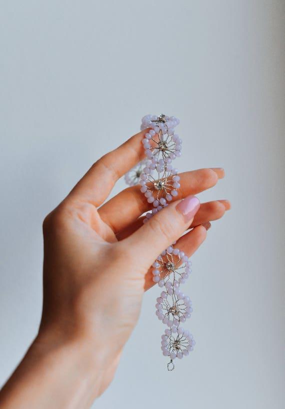 Pink opal crystals bridal tiara Beads hair circlet Boho | Etsy