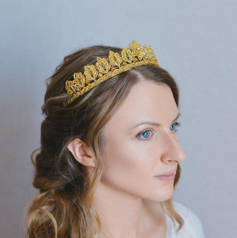 Beaded Headdress Wedding Gold Metal With Grey Beads Soft Tiara Boho Headband Accessories