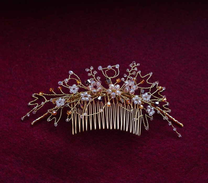Floral crystal comb Headpiece crystal Floral gold comb Gold hair back comb Unique veil comb hairpiece Bridal large comb Boho gold hair comb