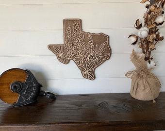 Wooden Texas Bluebonnet Sign