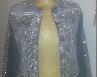 Customized crystal and pearl denim jacket