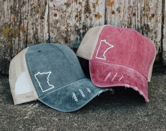 newest 2e95b f22a6 Minnesota Dark Grey Maroon Distressed Hat - MN Outline White, State Shape,  Minnesota, Stitched Hat, Trucker Hat, Ball Cap, State, USA, gift