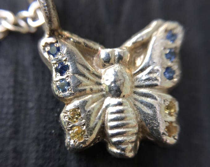 Sterling Silver Butterfly Pendant set in Blue and Yellow Sapphires