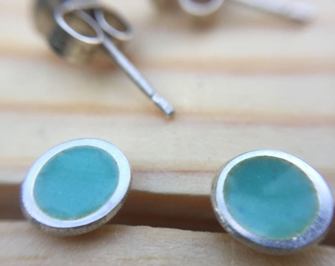 Opaque Mint Green Silver and Vitreous Enamel Stud Earrings