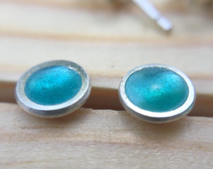 Sea Foam Green Silver and Vitreous Enamel Stud Earrings