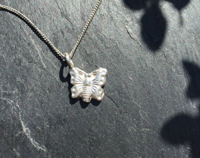 Sterling Silver Charm Butterfly Pendant on Chain